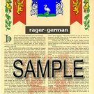 RAGER - GERMAN - Armorial Name History - Coat of Arms - Family Crest GIFT! 8.5x11