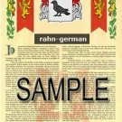 RAHN - GERMAN - Armorial Name History - Coat of Arms - Family Crest GIFT! 8.5x11
