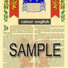 RAINER - ENGLISH - Armorial Name History - Coat of Arms - Family Crest GIFT! 8.5x11