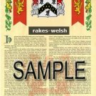 RAKES - WELSH - Armorial Name History - Coat of Arms - Family Crest GIFT! 8.5x11