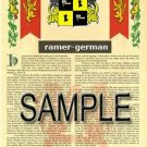 RAMER - GERMAN - Armorial Name History - Coat of Arms - Family Crest GIFT! 8.5x11