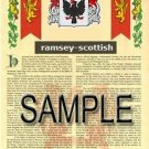 RAMSEY - SCOTTISH - Armorial Name History - Coat of Arms - Family Crest GIFT! 8.5x11