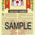RANCOURT - ENGLISH - Armorial Name History - Coat of Arms - Family Crest GIFT! 8.5x11
