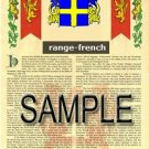 RANGE - FRENCH - Armorial Name History - Coat of Arms - Family Crest GIFT! 8.5x11