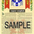 RAPER - ENGLISH - Armorial Name History - Coat of Arms - Family Crest GIFT! 8.5x11