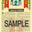 RAPOSA - ITALIAN - Armorial Name History - Coat of Arms - Family Crest GIFT! 8.5x11