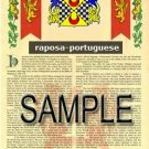 RAPOSA - PORTUGUESE - Armorial Name History - Coat of Arms - Family Crest GIFT! 8.5x11