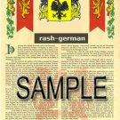 RASH - GERMAN - Armorial Name History - Coat of Arms - Family Crest GIFT! 8.5x11