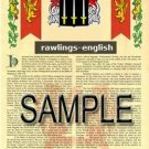 RAWLINGS - ENGLISH - Armorial Name History - Coat of Arms - Family Crest GIFT! 8.5x11