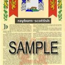 RAYBURN - SCOTTISH - Armorial Name History - Coat of Arms - Family Crest GIFT! 8.5x11