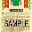REA - SCOTTISH - Armorial Name History - Coat of Arms - Family Crest GIFT! 8.5x11