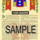 REAL - SPANISH - Armorial Name History - Coat of Arms - Family Crest GIFT! 8.5x11