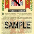 REDDEN - SCOTTISH - Armorial Name History - Coat of Arms - Family Crest GIFT! 8.5x11