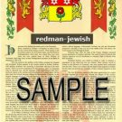 REDMAN - JEWISH - Armorial Name History - Coat of Arms - Family Crest GIFT! 8.5x11