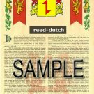 REED - DUTCH - Armorial Name History - Coat of Arms - Family Crest GIFT! 8.5x11