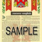 REEVES - ENGLISH - Armorial Name History - Coat of Arms - Family Crest GIFT! 8.5x11