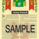 REMY - FRENCH - Armorial Name History - Coat of Arms - Family Crest GIFT! 8.5x11