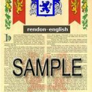RENDON - ENGLISH - Armorial Name History - Coat of Arms - Family Crest GIFT! 8.5x11