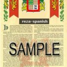 REZA - SPANISH - Armorial Name History - Coat of Arms - Family Crest GIFT! 8.5x11
