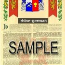 RHINE - GERMAN - Armorial Name History - Coat of Arms - Family Crest GIFT! 8.5x11
