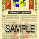 RHINEHART - GERMAN - Armorial Name History - Coat of Arms - Family Crest GIFT! 8.5x11