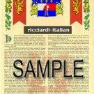 RICCIARDI - ITALIAN - Armorial Name History - Coat of Arms - Family Crest GIFT! 8.5x11
