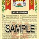 RICCIO - ITALIAN - Armorial Name History - Coat of Arms - Family Crest GIFT! 8.5x11
