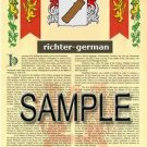 RICHTER - GERMAN - Armorial Name History - Coat of Arms - Family Crest GIFT! 8.5x11