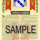 RICKEY - ENGLISH - Armorial Name History - Coat of Arms - Family Crest GIFT! 8.5x11