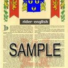RIDER - ENGLISH - Armorial Name History - Coat of Arms - Family Crest GIFT! 8.5x11