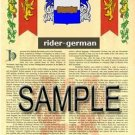 RIDER - GERMAN - Armorial Name History - Coat of Arms - Family Crest GIFT! 8.5x11