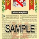 RILES - ENGLISH - Armorial Name History - Coat of Arms - Family Crest GIFT! 8.5x11