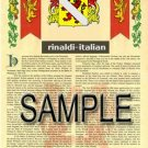 RINALDI - ITALIAN - Armorial Name History - Coat of Arms - Family Crest GIFT! 8.5x11