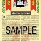 RINCON - GERMAN - Armorial Name History - Coat of Arms - Family Crest GIFT! 8.5x11