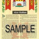 RIZO - ITALIAN - Armorial Name History - Coat of Arms - Family Crest GIFT! 8.5x11