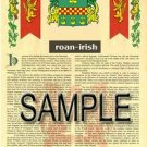 ROAN - IRISH - Armorial Name History - Coat of Arms - Family Crest GIFT! 8.5x11