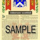 ROBERSON - SCOTTISH - Armorial Name History - Coat of Arms - Family Crest GIFT! 8.5x11