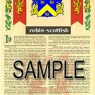 ROBIN - SCOTTISH - Armorial Name History - Coat of Arms - Family Crest GIFT! 8.5x11
