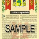 ROBLES - SPANISH - Armorial Name History - Coat of Arms - Family Crest GIFT! 8.5x11