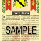 ROCCO - ITALIAN - Armorial Name History - Coat of Arms - Family Crest GIFT! 8.5x11