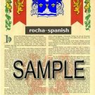 ROCHA - SPANISH - Armorial Name History - Coat of Arms - Family Crest GIFT! 8.5x11