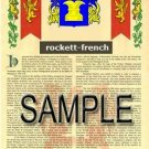 ROCKETT - FRENCH - Armorial Name History - Coat of Arms - Family Crest GIFT! 8.5x11