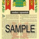 RODAS - SPANISH - Armorial Name History - Coat of Arms - Family Crest GIFT! 8.5x11