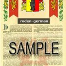 RODEN - GERMAN - Armorial Name History - Coat of Arms - Family Crest GIFT! 8.5x11