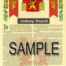 RODNEY - FRENCH - Armorial Name History - Coat of Arms - Family Crest GIFT! 8.5x11
