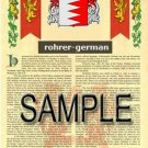 ROHRER - GERMAN - Armorial Name History - Coat of Arms - Family Crest GIFT! 8.5x11
