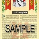 ROLF - ENGLISH - Armorial Name History - Coat of Arms - Family Crest GIFT! 8.5x11