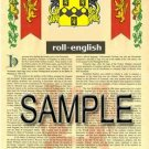 ROLL - ENGLISH - Armorial Name History - Coat of Arms - Family Crest GIFT! 8.5x11