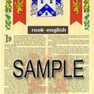 ROOK - ENGLISH - Armorial Name History - Coat of Arms - Family Crest GIFT! 8.5x11