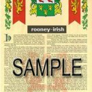 ROONEY - IRISH - Armorial Name History - Coat of Arms - Family Crest GIFT! 8.5x11